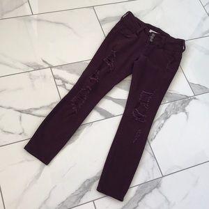Cello Distressed Purple Jeans